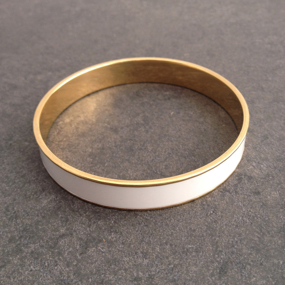7fa3f124f2bd6 Vintage Gold & White Bangle by Monet